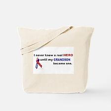 Never Knew A Hero.....Grandson (ARMY) Tote Bag