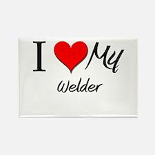 I Heart My Welder Rectangle Magnet
