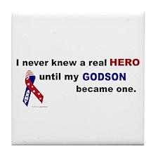 Never Knew A Hero.....Godson (ARMY) Tile Coaster