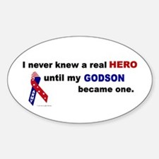 Never Knew A Hero.....Godson (ARMY) Oval Decal