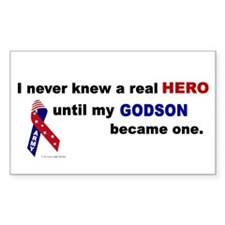 Never Knew A Hero.....Godson (ARMY) Decal