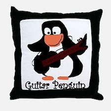 guitar penguin Throw Pillow