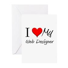 I Heart My Web Designer Greeting Cards (Pk of 10)