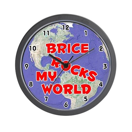 Brice Rocks My World (Red) Wall Clock