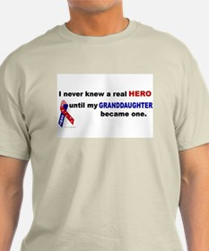 Never Knew A Hero.....Granddaughter (ARMY) T-Shirt