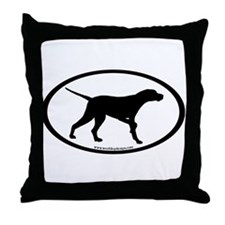 Pointer Dog Oval Throw Pillow