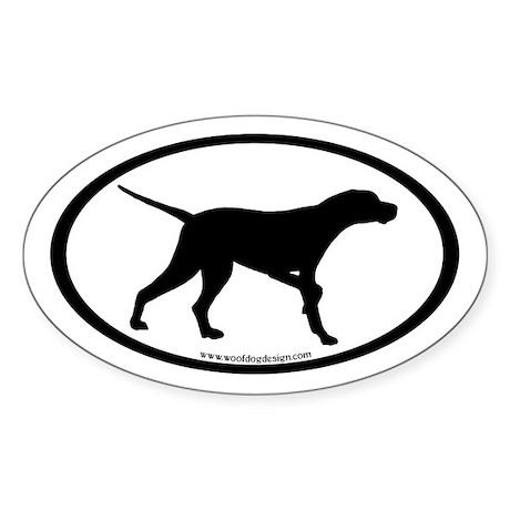 Pointer Dog Oval (inner border) Oval Sticker