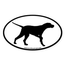 Pointer Dog Oval (black border) Oval Decal