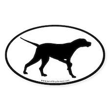 Pointer Dog Oval (black border) Oval Decal
