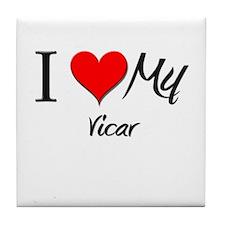 I Heart My Vicar Tile Coaster