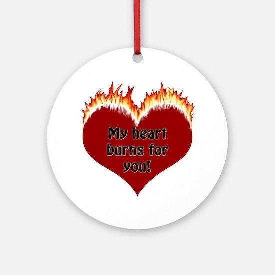 Burning Heart Valentine Ornament (Round)