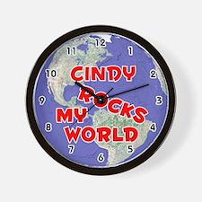 Cindy Rocks My World (Red) Wall Clock