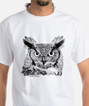 Horned Owl White T-Shirt
