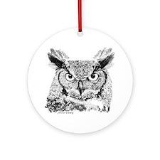Horned Owl Ornament (Round)