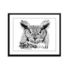 Horned Owl Framed Panel Print