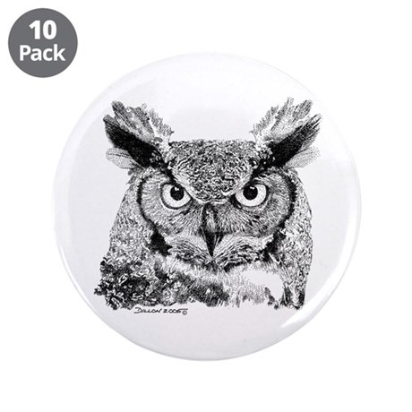 "Horned Owl 3.5"" Button (10 pack)"