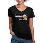 Gandhi 3 Women's V-Neck Dark T-Shirt