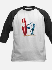 Love Bites Surfing Valentine Kids Baseball Jersey