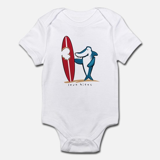 Love Bites Surfing Valentine Infant Bodysuit