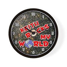 Keith Rocks My World (Red) Wall Clock