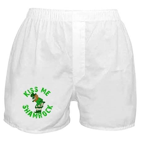 Kiss Me Shamrock Irish Boxer Shorts