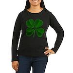 Lucky Four Leaf Clover Women's Long Sleeve Dark T-