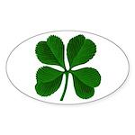 Lucky Four Leaf Clover Oval Sticker