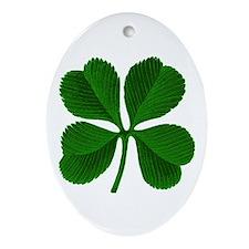 Lucky Four Leaf Clover Oval Ornament