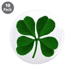 "Lucky Four Leaf Clover 3.5"" Button (10 pack)"