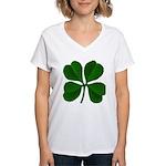 Lucky Four Leaf Clover Women's V-Neck T-Shirt