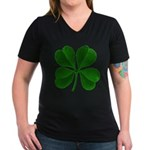 Lucky Four Leaf Clover Women's V-Neck Dark T-Shirt