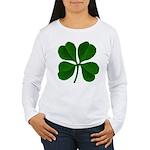 Lucky Four Leaf Clover Women's Long Sleeve T-Shirt