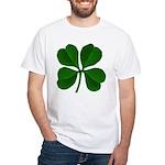 Lucky Four Leaf Clover White T-Shirt