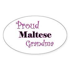 Proud Maltese Grandma Oval Decal