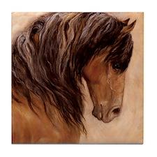 Primitive Dun Mustang Stallion Tile Coaster