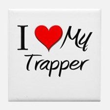 I Heart My Trapper Tile Coaster