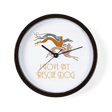I Love My Rescue Dog Wall Clock