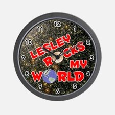 Lesley Rocks My World (Red) Wall Clock