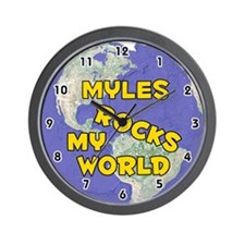 Myles Rocks My World (Gold) Wall Clock