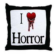 Bloody I heart horror gore Throw Pillow