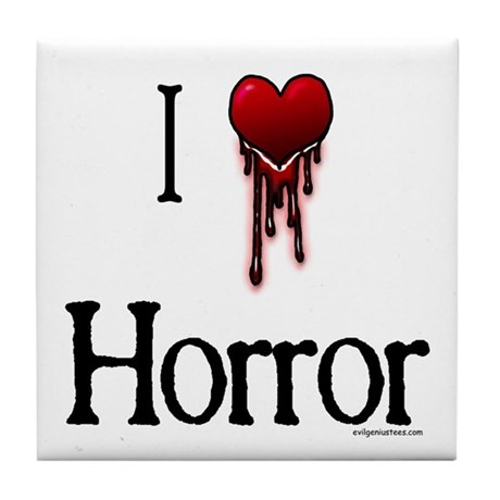 Bloody I heart horror gore Tile Coaster