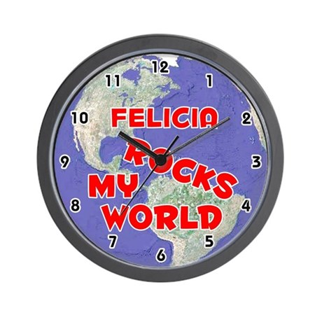 Felicia Rocks My World (Red) Wall Clock
