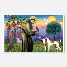 St Francis & Whippets Rectangle Decal