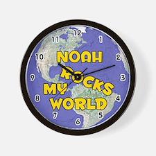 Noah Rocks My World (Gold) Wall Clock