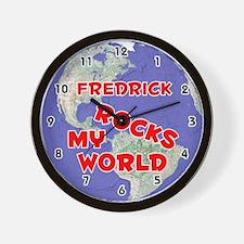 Fredrick Rocks My World (Red) Wall Clock