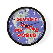 Georgia Rocks My World (Red) Wall Clock