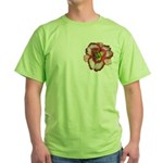 Red Ruffled Daylily Green T-Shirt