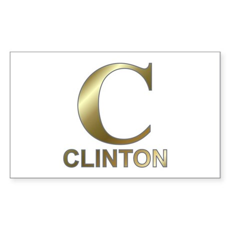 Gold C for Hillary Clinton Rectangle Sticker