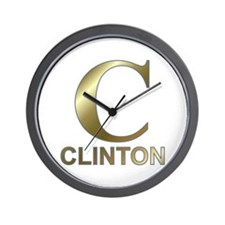 Gold C for Hillary Clinton Wall Clock