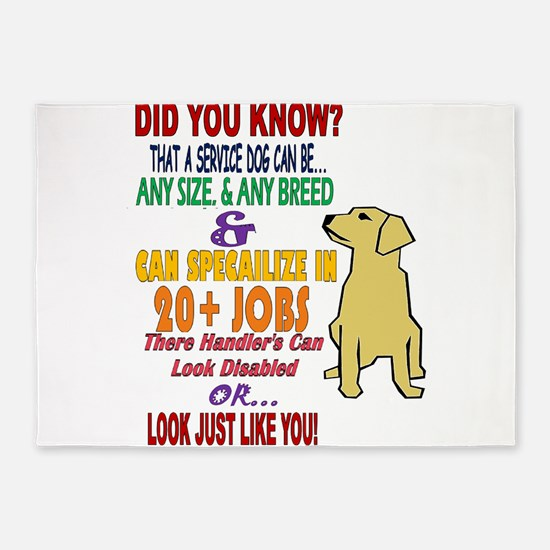 did you know service dog education 5'x7'Area Rug